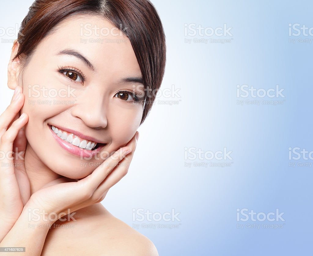 Smile Face of woman with health teeth royalty-free stock photo