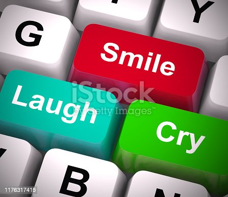 Smile laugh cry emotions depict feelings and affections. Emotional sympathy and inner nature - 3d illustration
