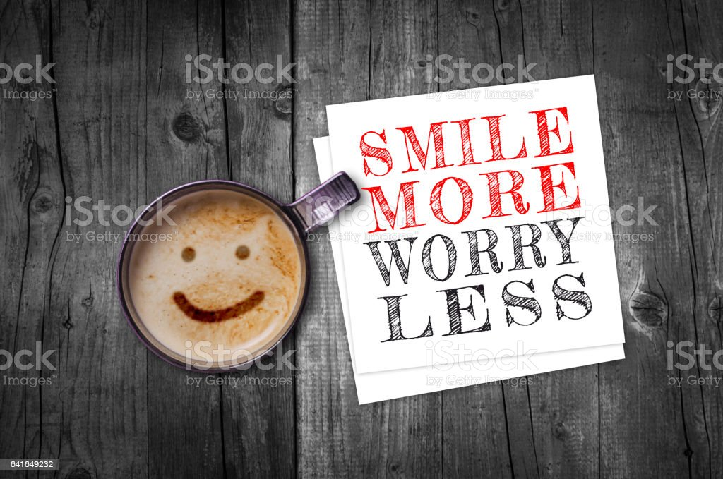 Smile more worry less stock photo