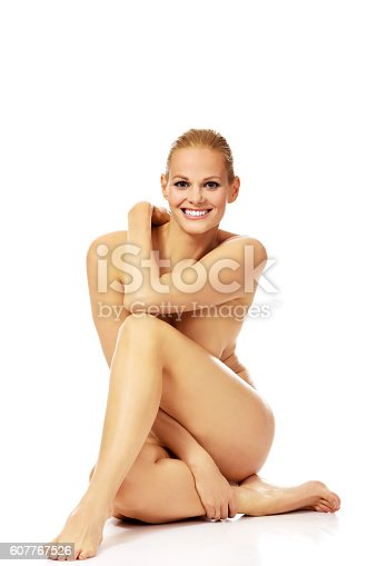 Smile Nude Woman Sitting On The Floor Stock Photo  More -8717