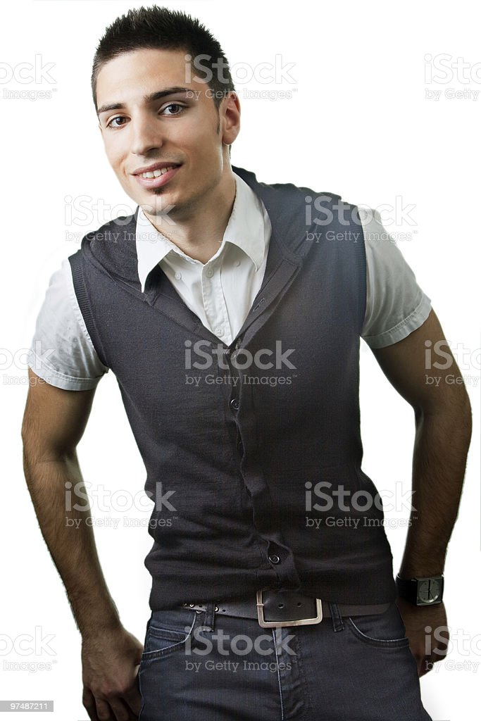 Smile of handsome young man isolated on white royalty-free stock photo