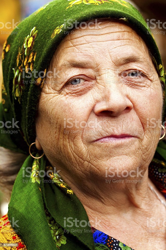 Smile of happy east european senior woman royalty-free stock photo