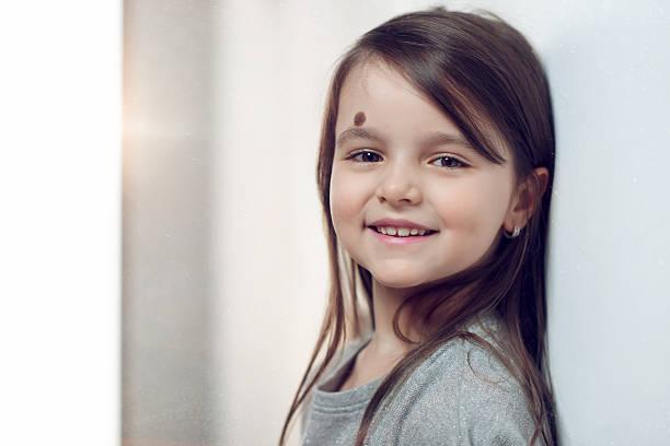 smile of little girl stock photo