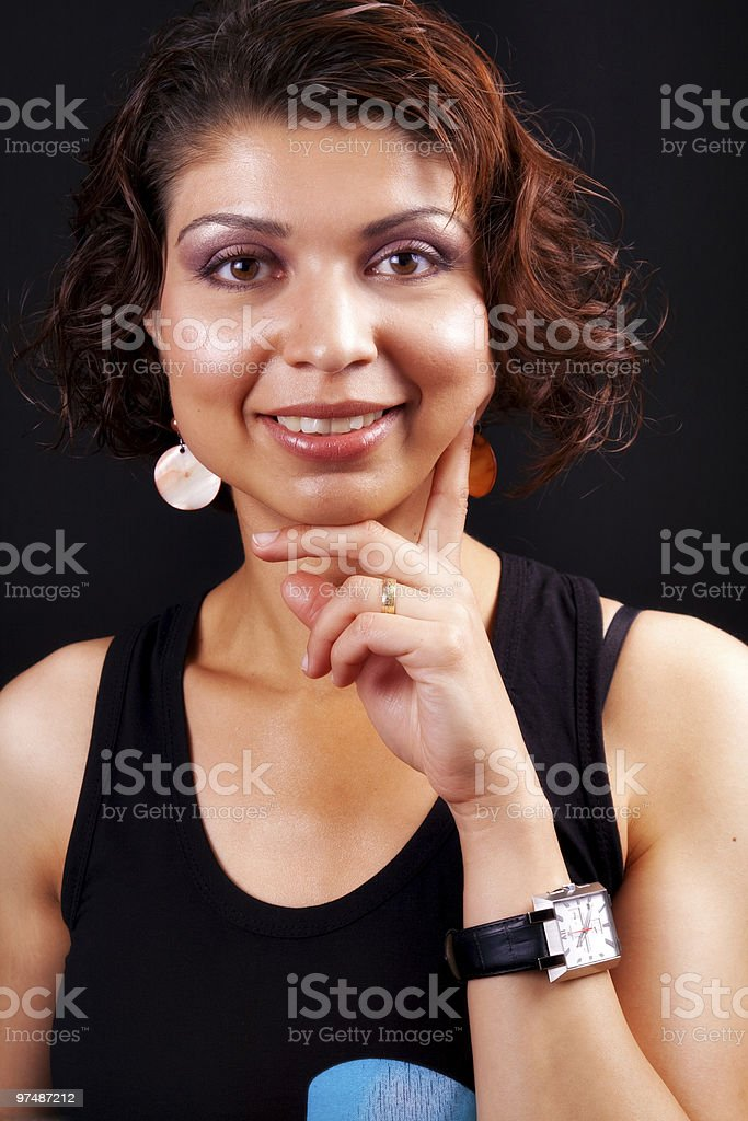 Smile of one happy middle aged woman royalty-free stock photo