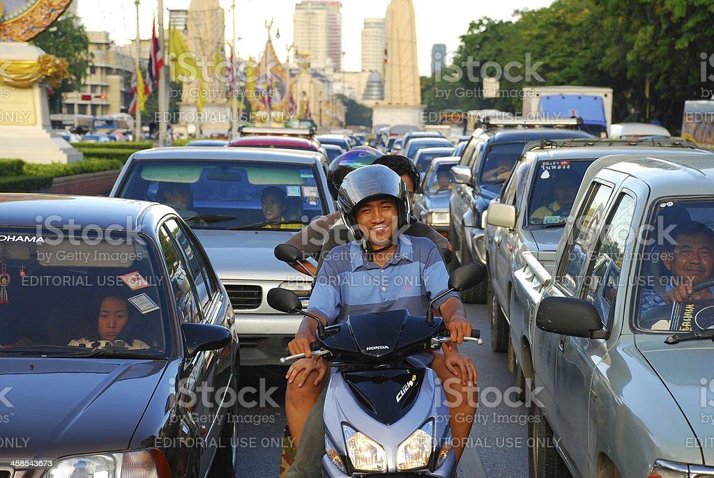 Lächeln auf Motorrad – Foto