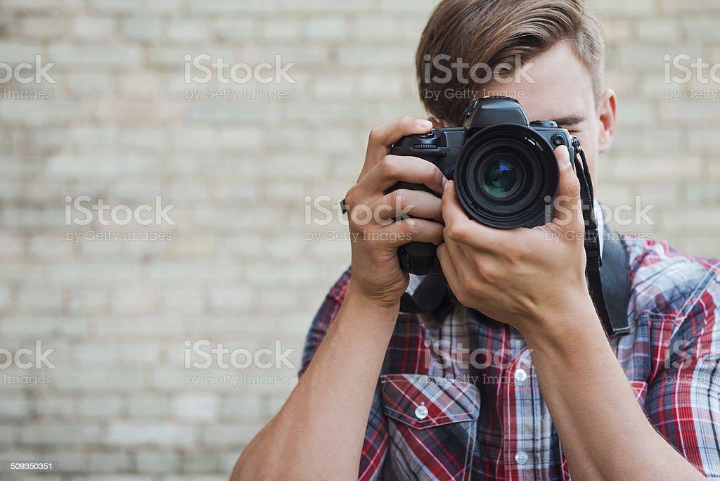 Smile to the camera! stock photo