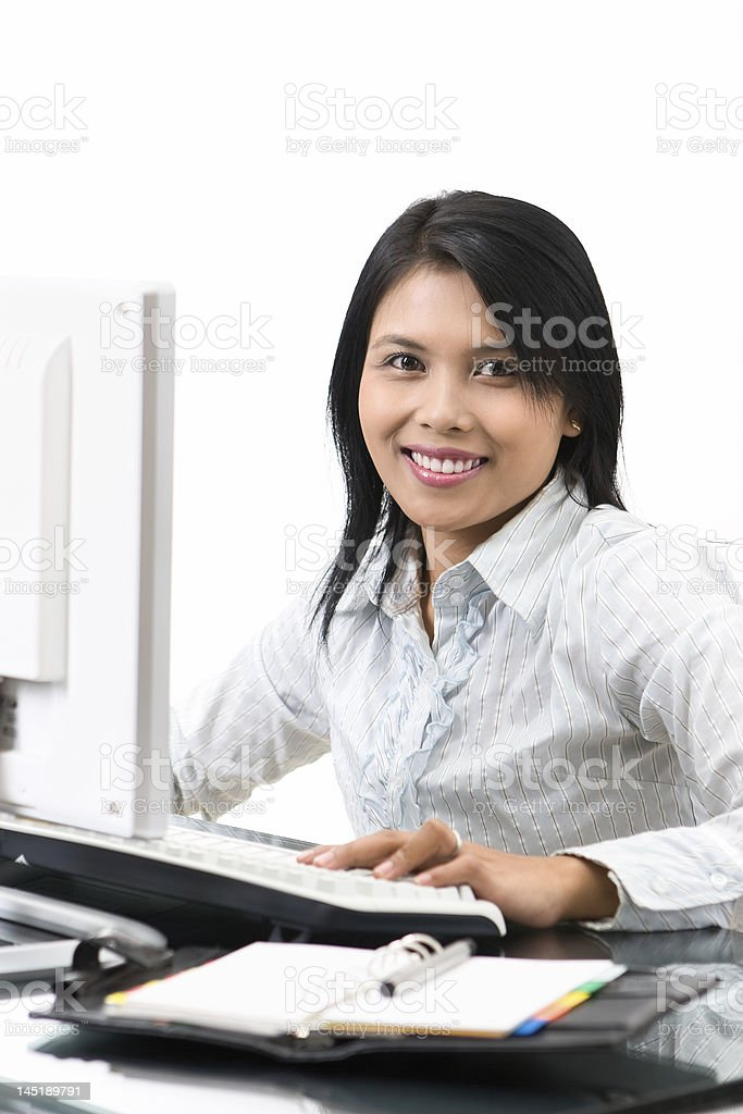 Smile while working royalty-free stock photo