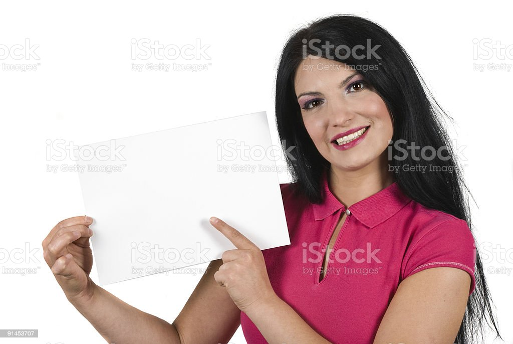 Smile woman with blank sign royalty-free stock photo