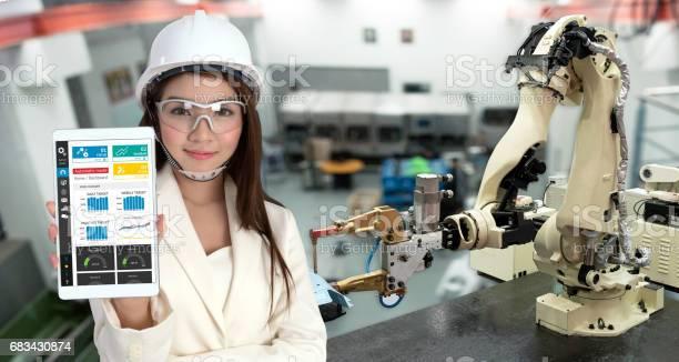 Lächeln Jungen Asien Ingenieurin Mit Tablet Brille Automatisierung Roboter Arm Maschine Industrielle Smart Factory Mit Tabletrealtime Monitoring Systemanwendung Industrie 4 Iotkonzept Stockfoto und mehr Bilder von Arm - Anatomiebegriff