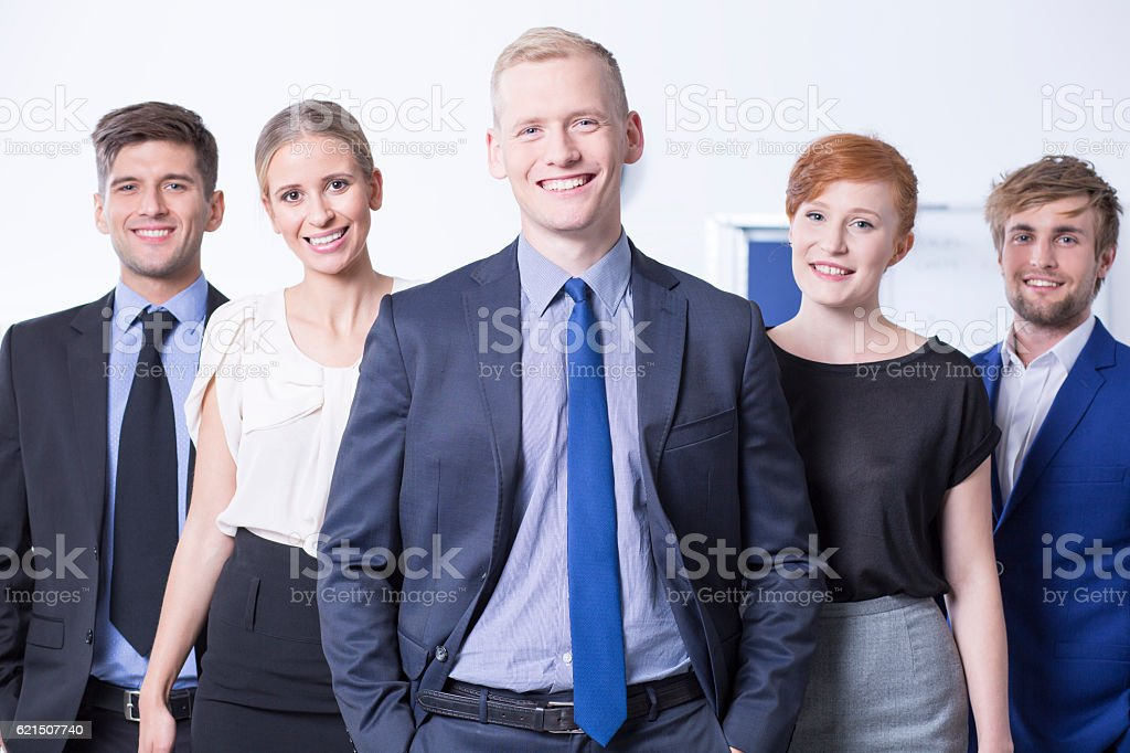 Smiled employees at work office foto stock royalty-free