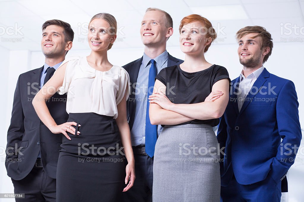 Smiled employees in elegant clothes foto stock royalty-free