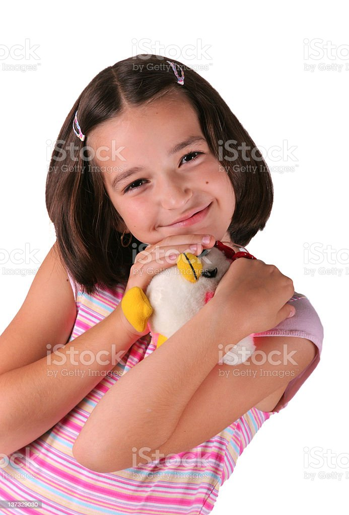 Smiled young girl with plush toy royalty-free stock photo