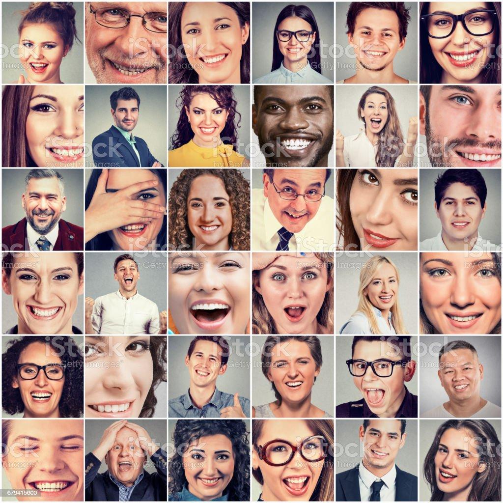 Sourires. Les femmes et les hommes heureux photo libre de droits