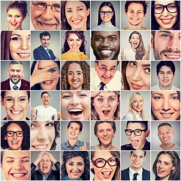 lächelt. glückliche männer und frauen - große personengruppe stock-fotos und bilder