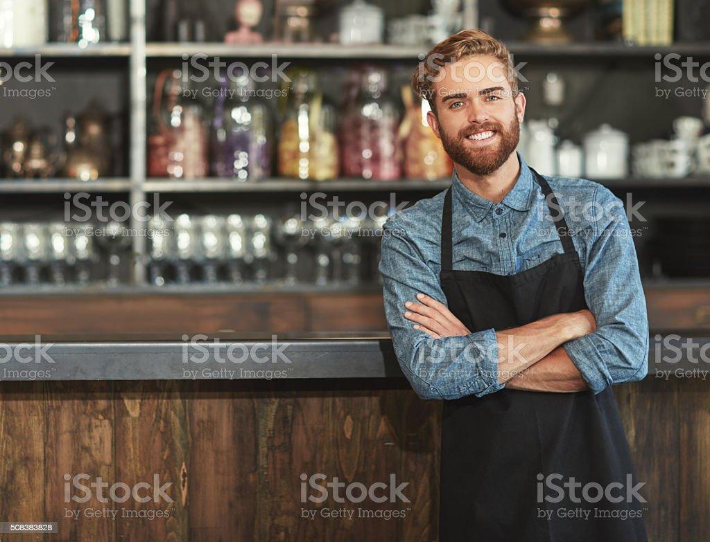 Smiles of coffee shop success stock photo