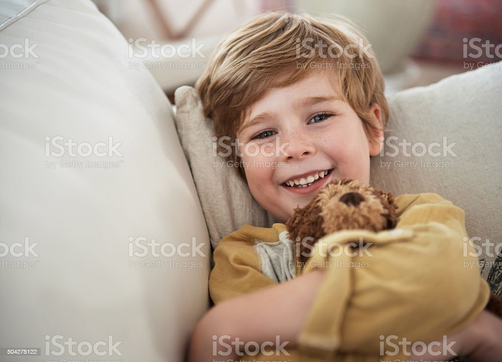Smiles on the sofa stock photo