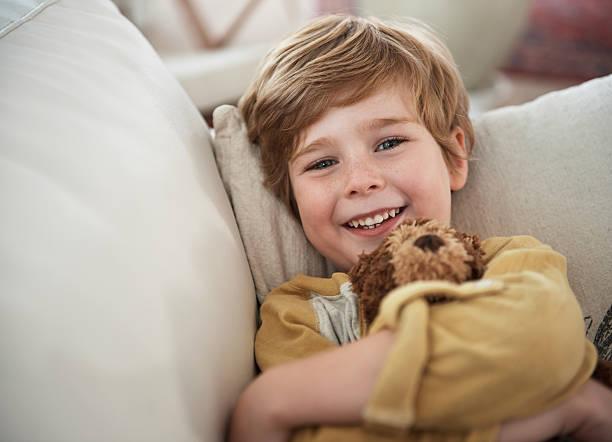 Smiles on the sofa stock photo