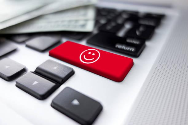 Smiley button stock photo