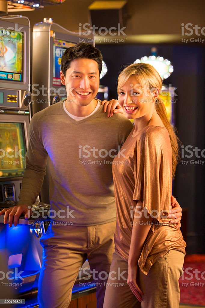 Smiley Casino Couple stock photo