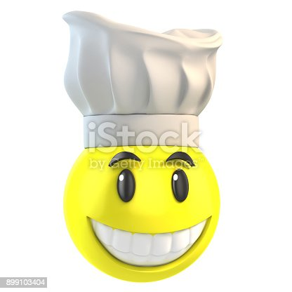 istock Smiley chef 3d isolated illustration 899103404