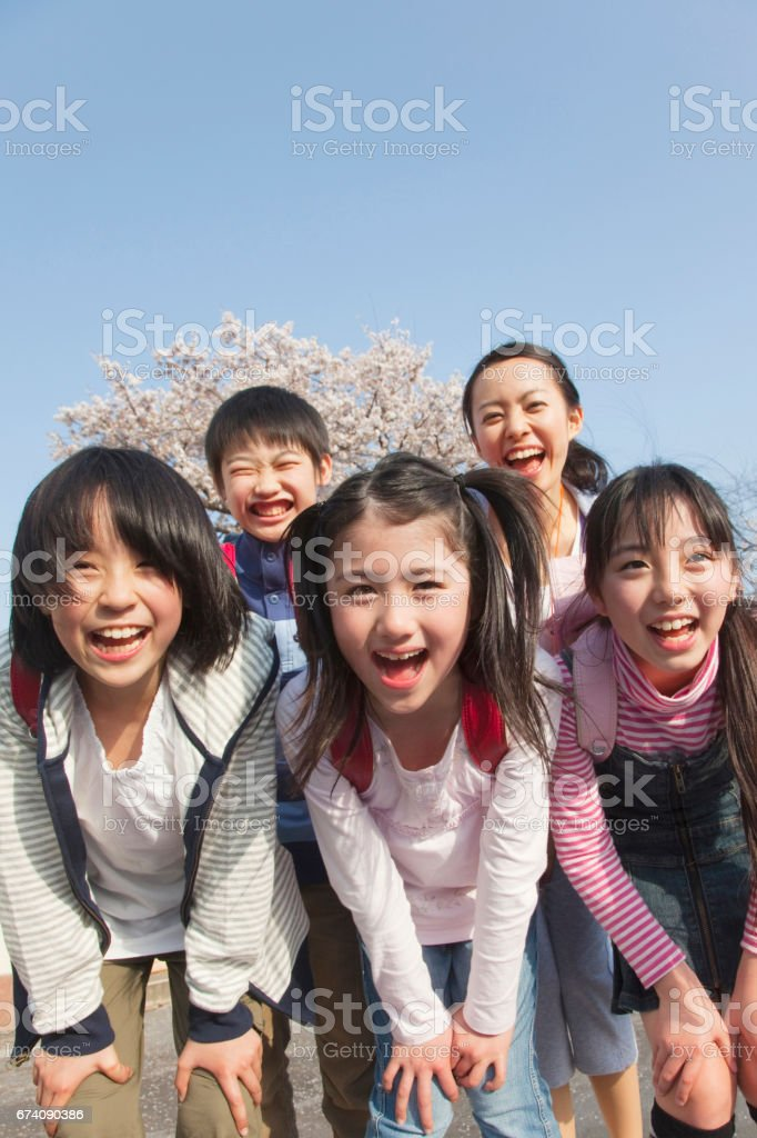 Smiley elementary school four female teachers royalty-free stock photo