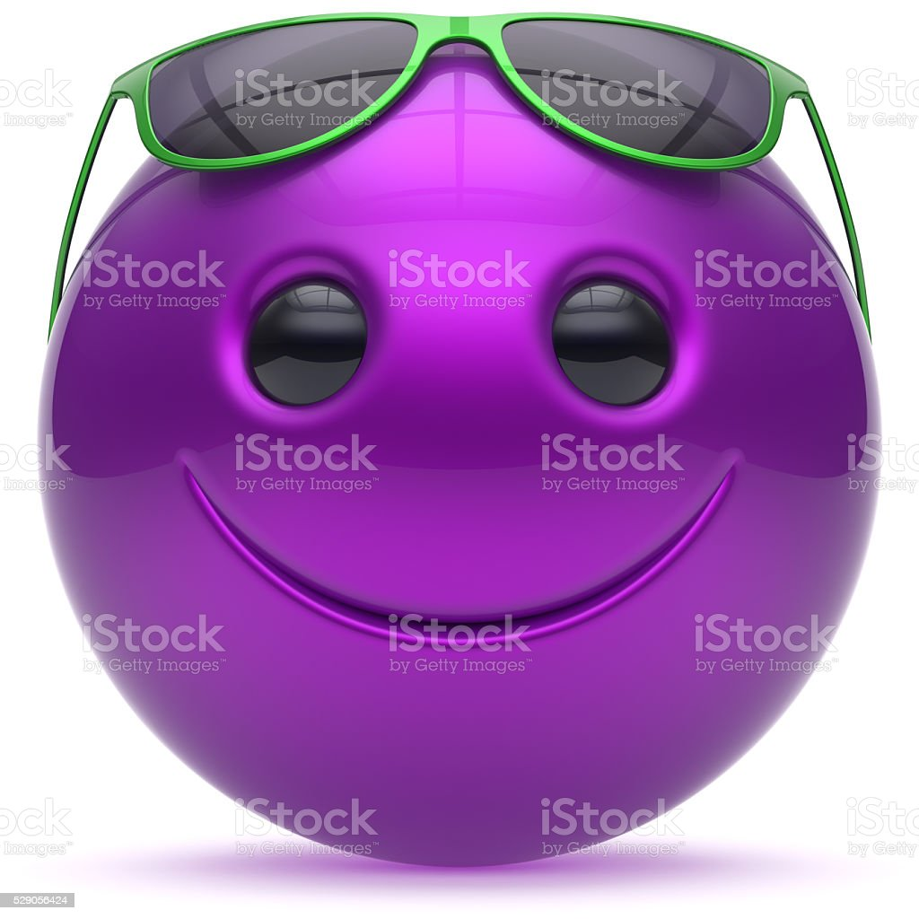 Smiley face cheerful head blue purple ball sphere emoticon stock photo