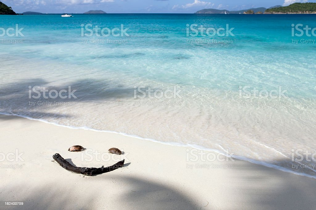 smiley face on the beach royalty-free stock photo