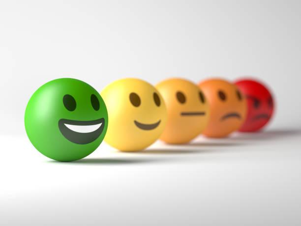 Smiley Gesicht ausgewählt. Positives Feedback. – Foto