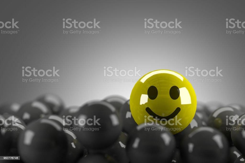 Smiley Face stehend, in Menge, 3d render – Foto
