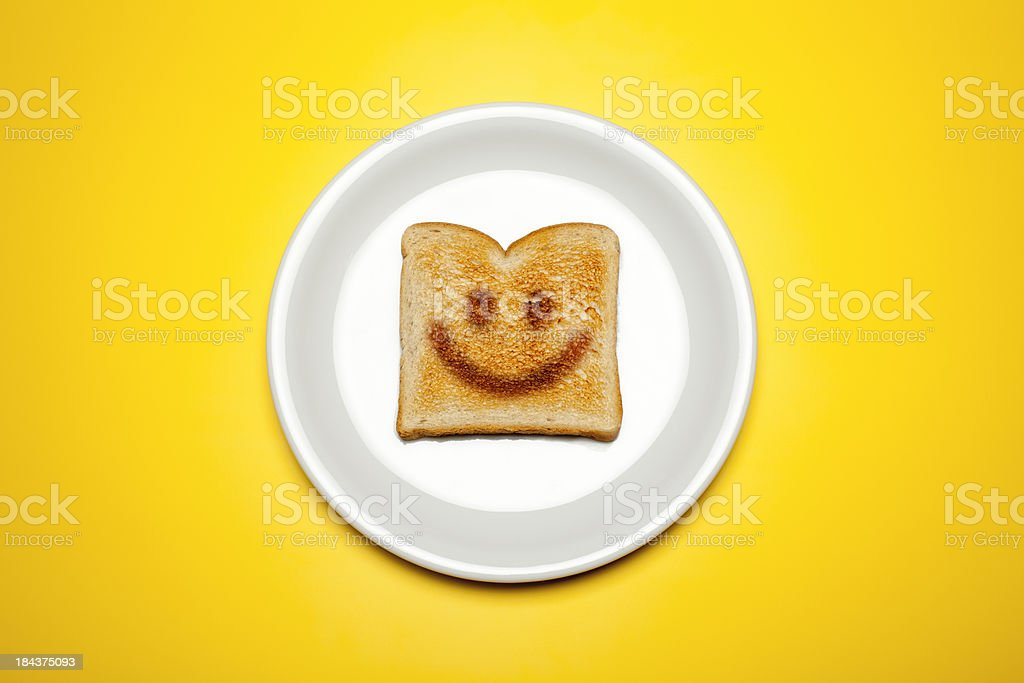 Smiley face toast o a plate stock photo