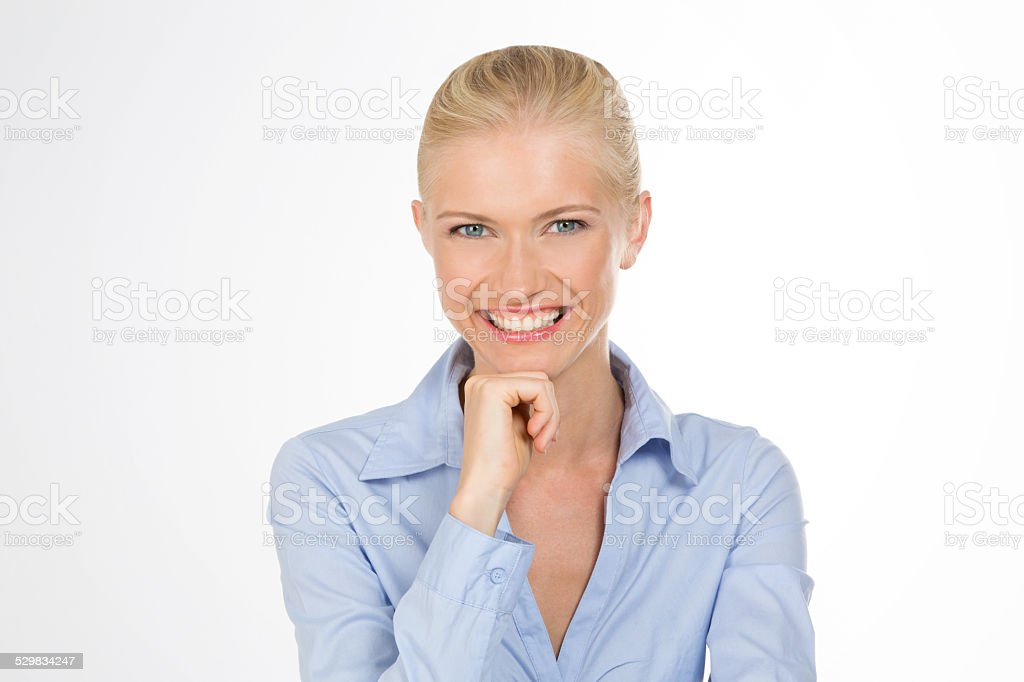 smiley girl on isolated stock photo