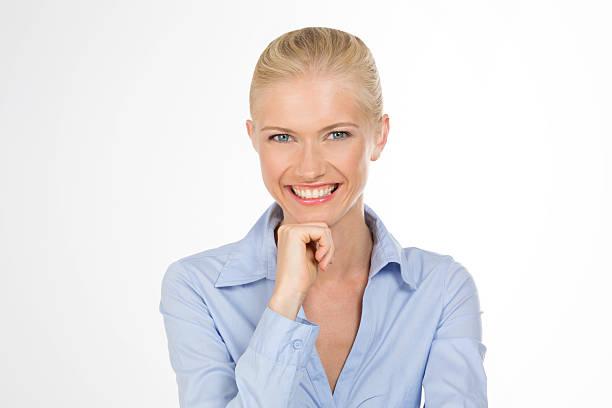 smiley girl on isolated stock photo