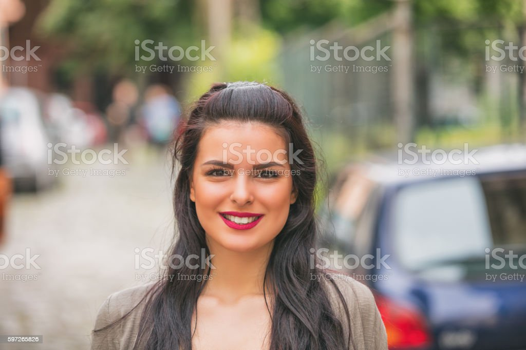 Smiley girl on the street. royalty-free stock photo