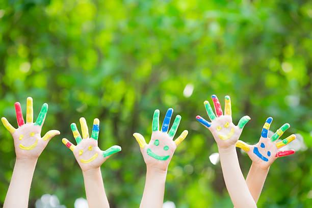 Smiley mãos - foto de acervo