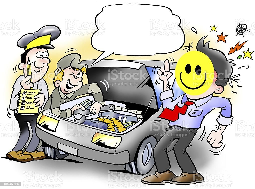 Smiley Inspection of an Car royalty-free stock photo