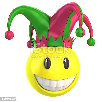 istock Smiley jester 3d isolated illustration 899103340