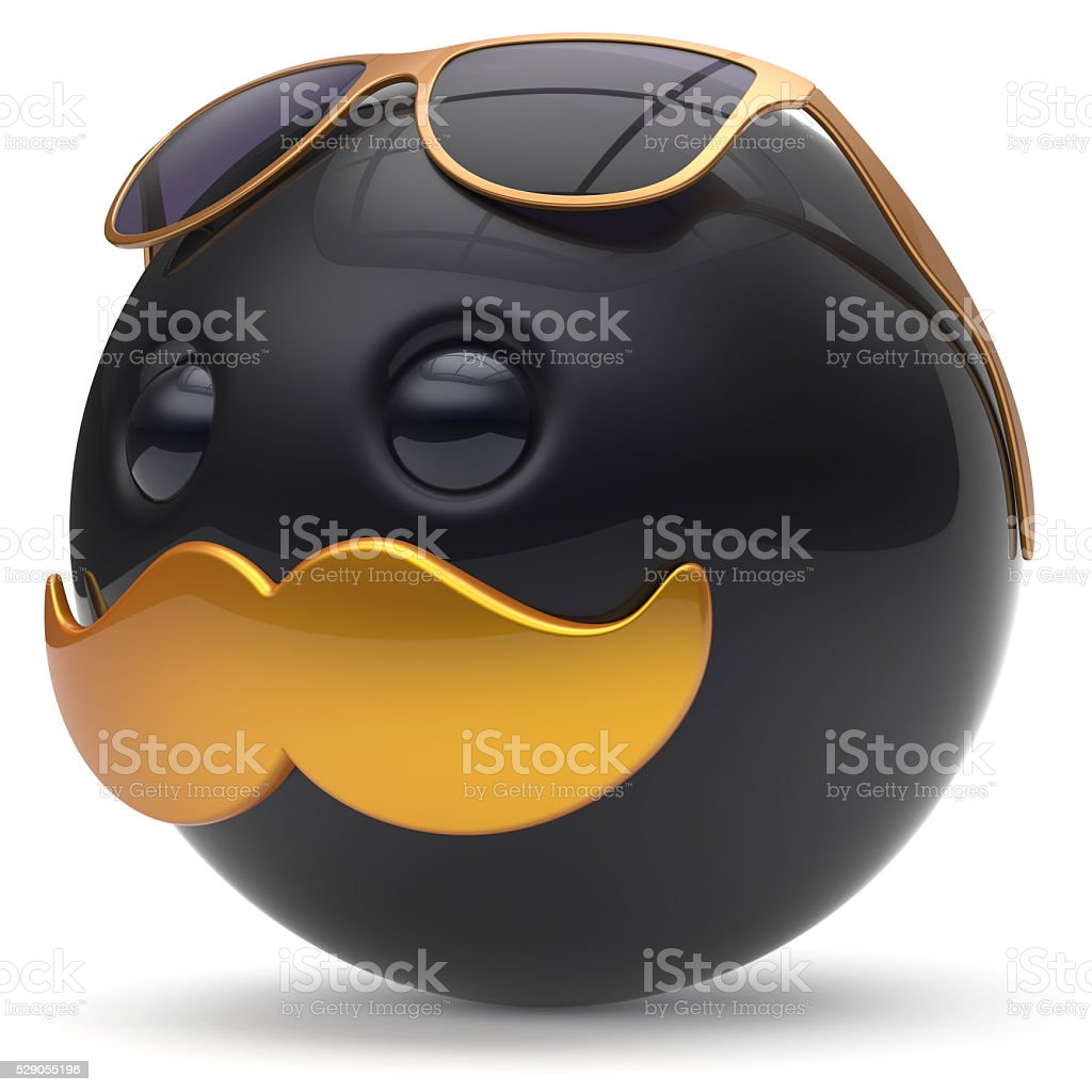 Smiley mustache face black golden emoticon ball happy joyful stock photo