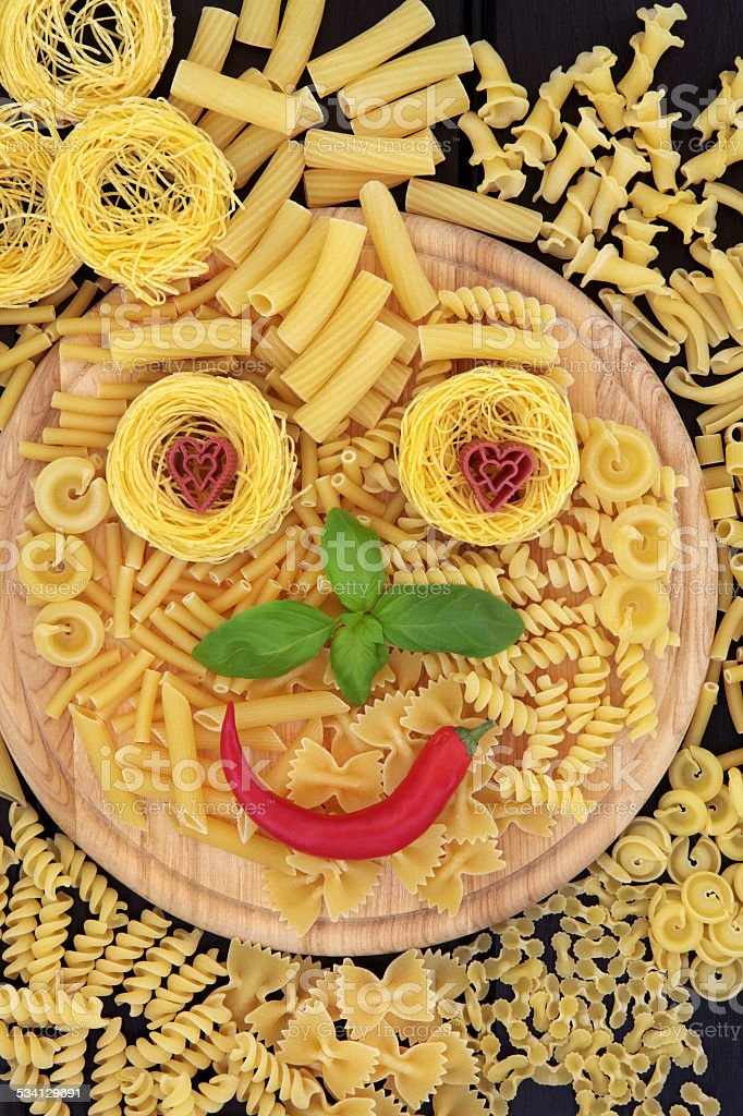 Smiley Pasta stock photo