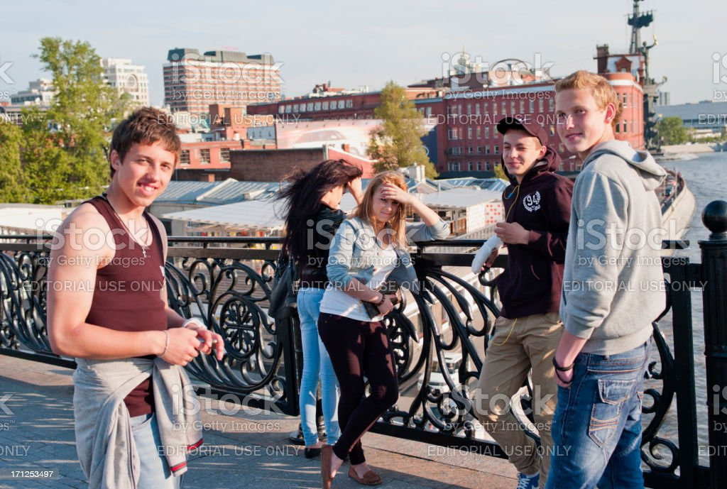 Smiley Russian Teenagers, Moscow royalty-free stock photo