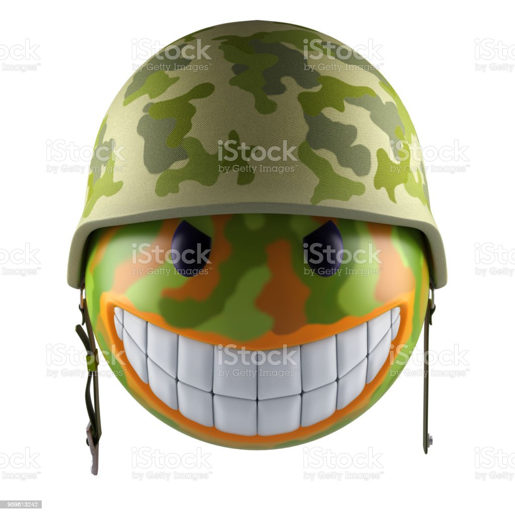Smiley sphere emoticon with military helmet stock photo