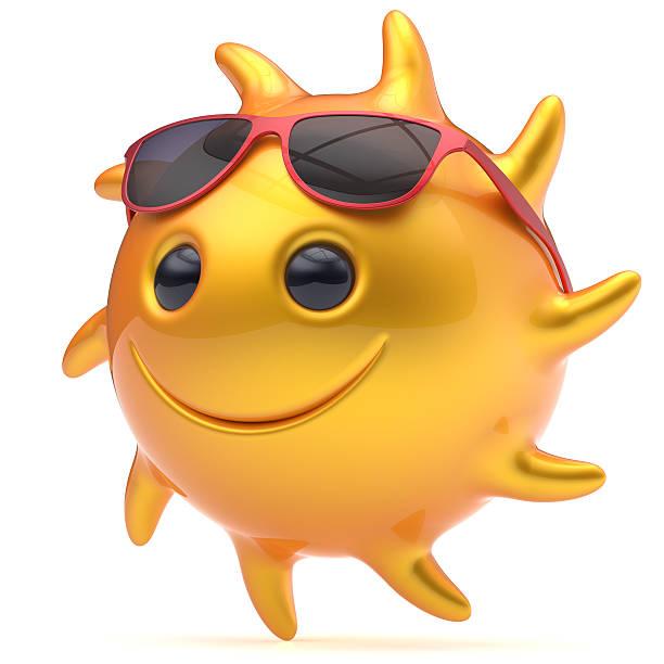 Smiley sun face sunglasses cheerful summer star smile cartoon stock photo