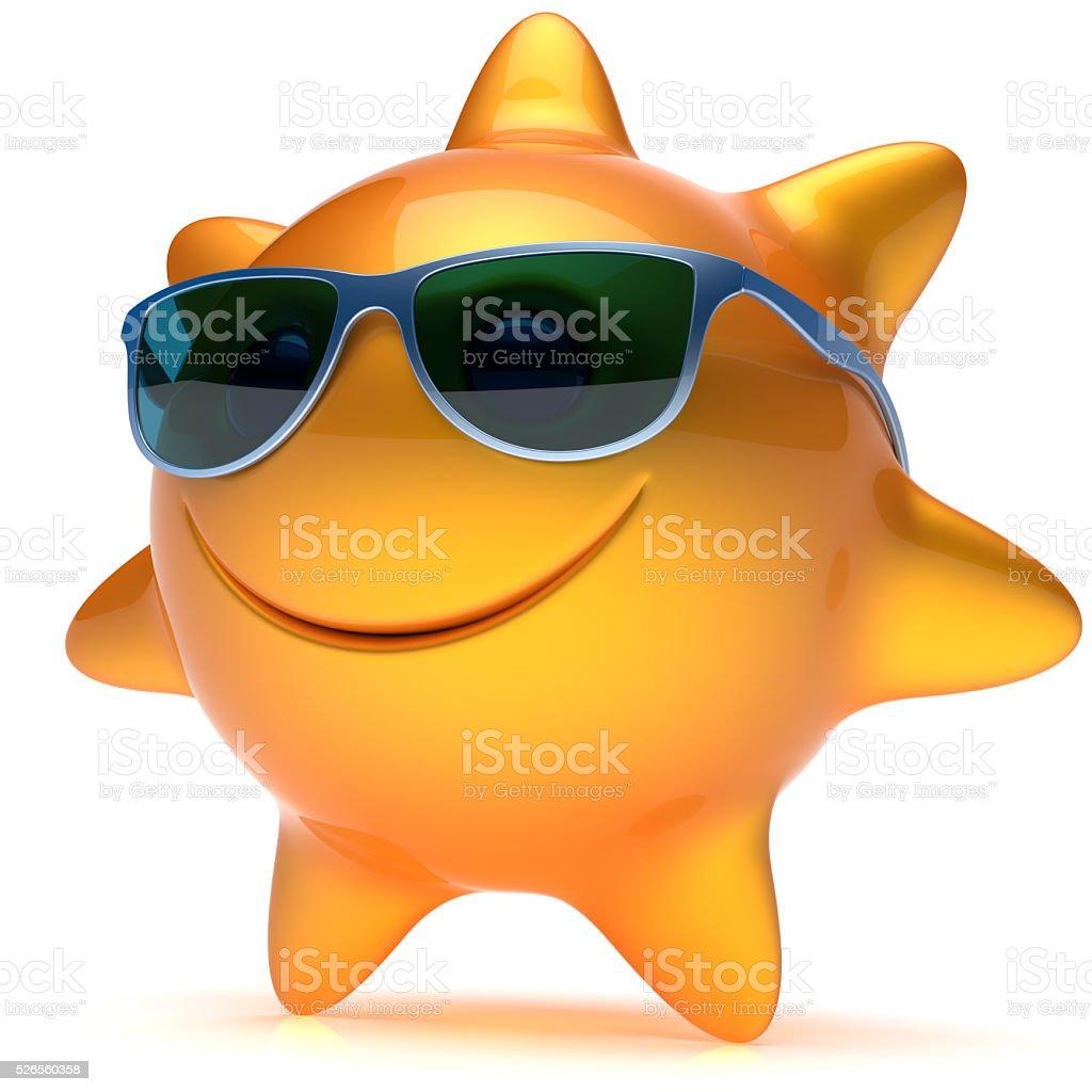 Smiley sun star face sunglasses cheerful summer smile cartoon stock photo