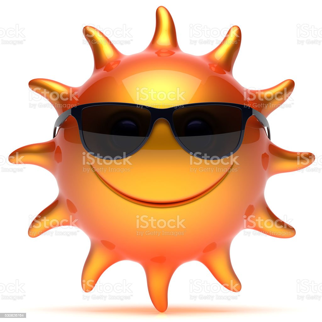 Smiley sun sunglasses star sunny fiery cheerful face emoticon stock photo
