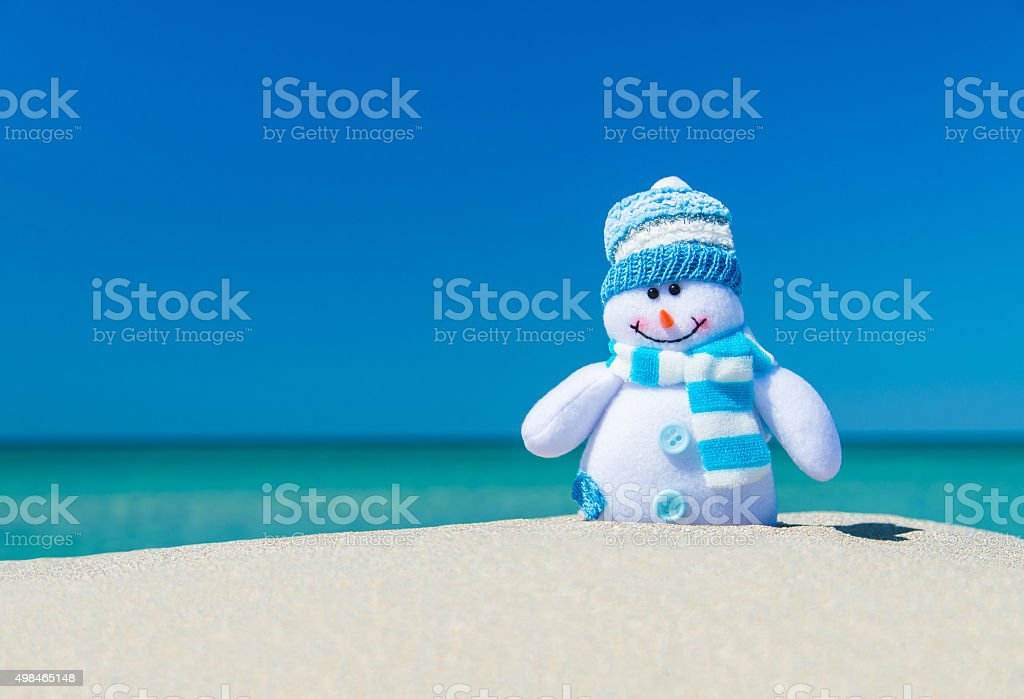 Smiley toy snowman in hat and scarf at sea beach. stock photo