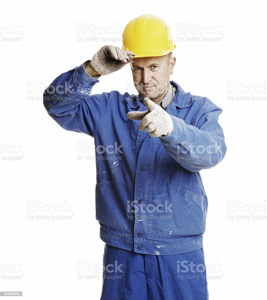 smiley workman pointing royalty-free stock photo