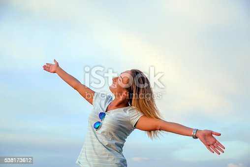 508455188 istock photo Smilie Freedom and happiness woman Enjoying Nature 538173612