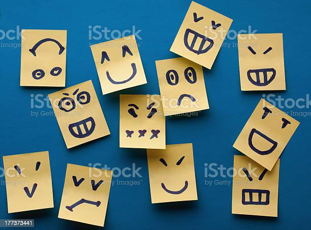 Smilies yellow stickers on blue background Smilies stickers on blue background Anger Stock Photo