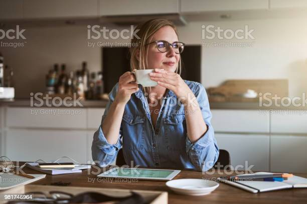 Smiliing woman drinking coffee while working online from home picture id981746964?b=1&k=6&m=981746964&s=612x612&h=xbszwnzinj0cilbe8dargmlivex75ygny4aofogneq0=