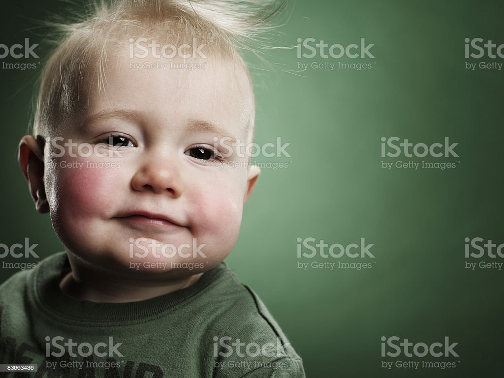 Smiling 1 year old baby boy. royalty-free stock photo