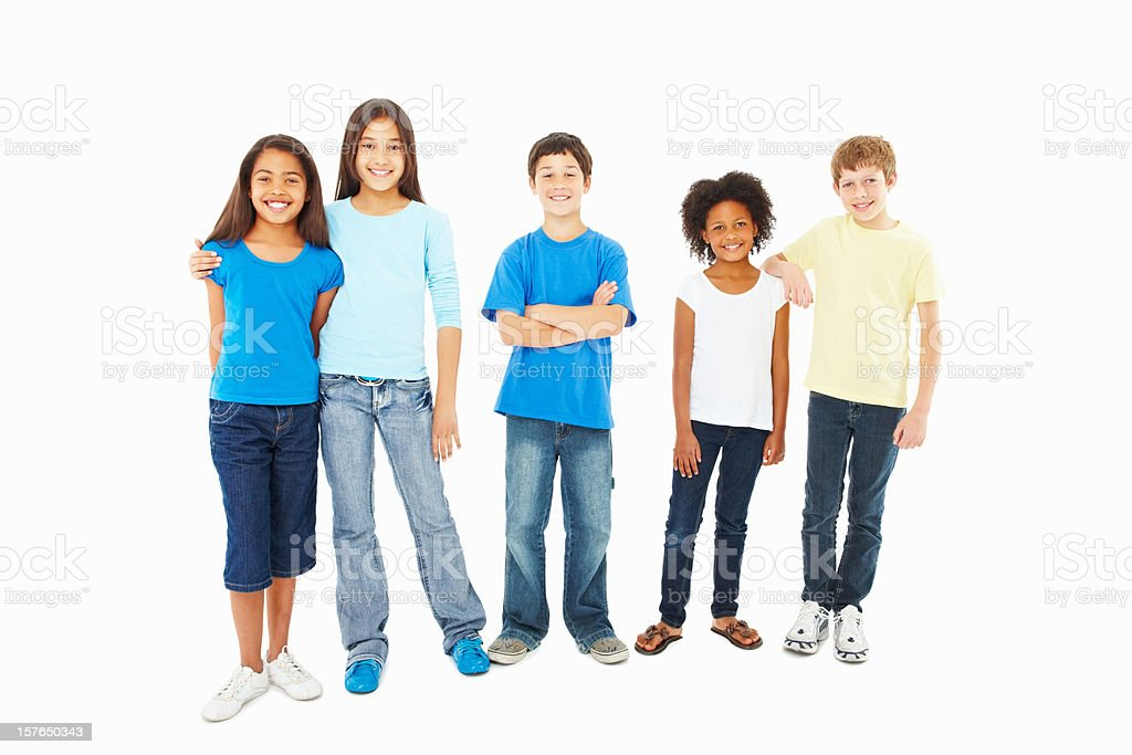 Smiling adorable kids standing against white stock photo